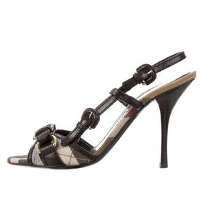 Burberry 💯Authentic Nova Check Slingback Sandals